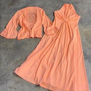 Vintage 1970's Groovy Orange Maxi Dress Crocheted